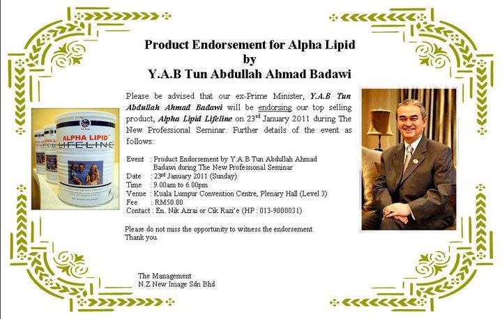 Tun Abdullah Badawi (Pak Lah) pun Minum Alpha Lipid Lifeline!